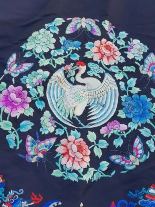 A antique embroidered blue silk Chinese robe textile 5