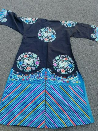 A antique embroidered blue silk Chinese robe textile 7