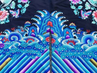 A antique embroidered blue silk Chinese robe textile 8