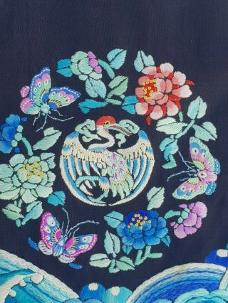 A antique embroidered blue silk Chinese robe textile 9