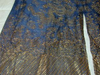 Antique Chinese Dk Blue Silk Gauze 9 Gold Couched Dragons Robe 10