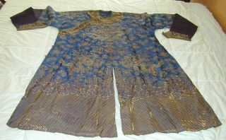 Antique Chinese Dk Blue Silk Gauze 9 Gold Couched Dragons Robe 12