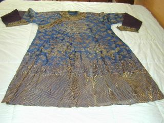 Antique Chinese Dk Blue Silk Gauze 9 Gold Couched Dragons Robe