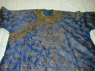 Antique Chinese Dk Blue Silk Gauze 9 Gold Couched Dragons Robe 2