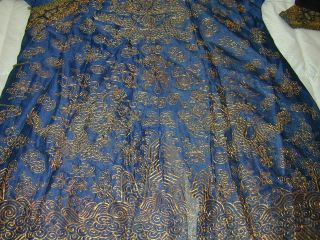 Antique Chinese Dk Blue Silk Gauze 9 Gold Couched Dragons Robe 3