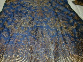 Antique Chinese Dk Blue Silk Gauze 9 Gold Couched Dragons Robe 4