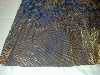 Antique Chinese Dk Blue Silk Gauze 9 Gold Couched Dragons Robe 5