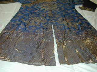 Antique Chinese Dk Blue Silk Gauze 9 Gold Couched Dragons Robe 6