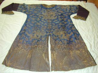 Antique Chinese Dk Blue Silk Gauze 9 Gold Couched Dragons Robe 7