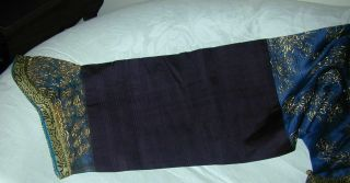 Antique Chinese Dk Blue Silk Gauze 9 Gold Couched Dragons Robe 9