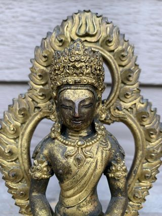 Antique Chinese Tibetan Gilt Bronze Buddha Fiqure With Praver Scroll 5