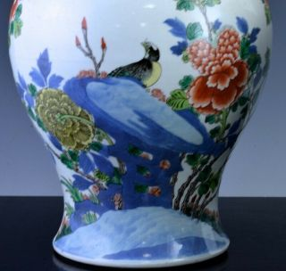 PAIR 19THC CHINESE BLUE WHITE WUCAI ENAMEL BIRD LANDSCAPE MEIPING VASES 10