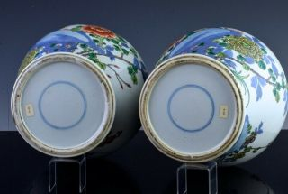 PAIR 19THC CHINESE BLUE WHITE WUCAI ENAMEL BIRD LANDSCAPE MEIPING VASES 12
