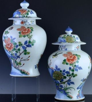 PAIR 19THC CHINESE BLUE WHITE WUCAI ENAMEL BIRD LANDSCAPE MEIPING VASES 2