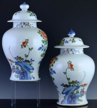 PAIR 19THC CHINESE BLUE WHITE WUCAI ENAMEL BIRD LANDSCAPE MEIPING VASES 3