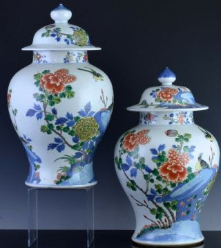PAIR 19THC CHINESE BLUE WHITE WUCAI ENAMEL BIRD LANDSCAPE MEIPING VASES 4
