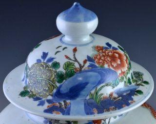 PAIR 19THC CHINESE BLUE WHITE WUCAI ENAMEL BIRD LANDSCAPE MEIPING VASES 6