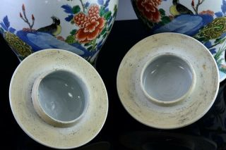 PAIR 19THC CHINESE BLUE WHITE WUCAI ENAMEL BIRD LANDSCAPE MEIPING VASES 7