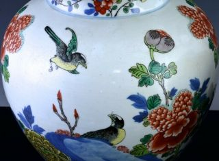 PAIR 19THC CHINESE BLUE WHITE WUCAI ENAMEL BIRD LANDSCAPE MEIPING VASES 9