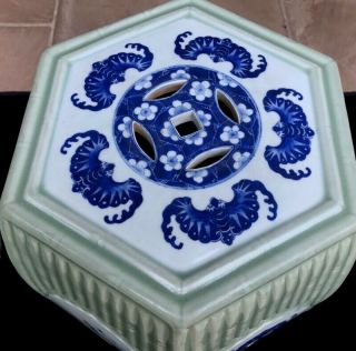QUALITY 19THC CHINESE BLUE WHITE & LONGQUAN CELADON GLAZED GARDEN SEATS 2