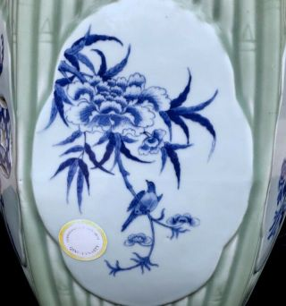 QUALITY 19THC CHINESE BLUE WHITE & LONGQUAN CELADON GLAZED GARDEN SEATS 8