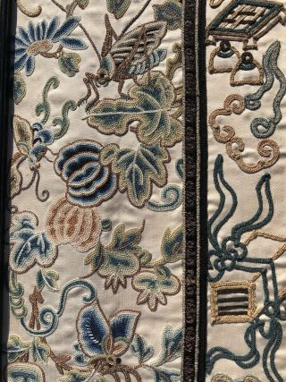 Pair Antique Chinese Embroidered Silk Sleevebands Rank Badge Qing Dynasty 12