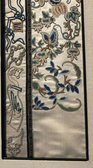 Pair Antique Chinese Embroidered Silk Sleevebands Rank Badge Qing Dynasty 7