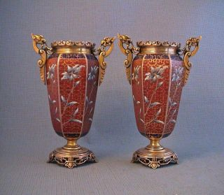 Fine Pair Late 19th Century French Champleve Cloisonne Japanese Style Vases