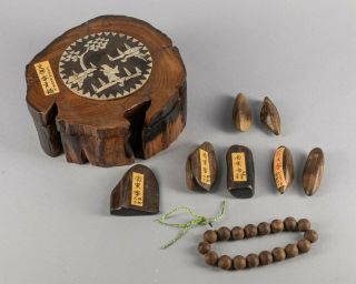 Group Of Chinese/japoanese Antique Agarwood Pics & Beads With Wood Box