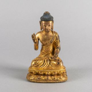 19th Chinese Antique Sino Tibetan Gilt Bronze Buddha