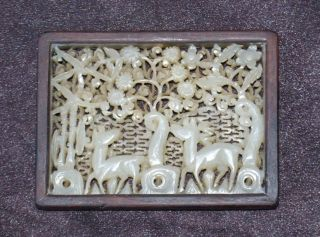 Chinese Antique White Jade Openwork Deer Plaque Ming Dynasty