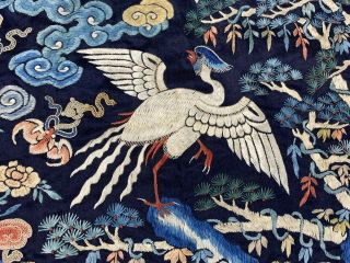 Antique Early 19th C.  Qing Dynasty Chinese Silk Embroidery Rank Badge Of Bird 2