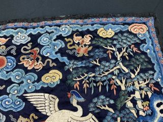 Antique Early 19th C.  Qing Dynasty Chinese Silk Embroidery Rank Badge Of Bird 4