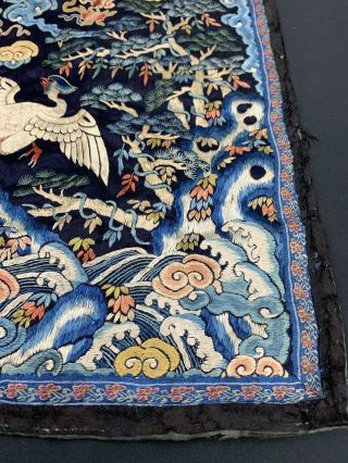 Antique Early 19th C.  Qing Dynasty Chinese Silk Embroidery Rank Badge Of Bird 6