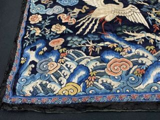 Antique Early 19th C.  Qing Dynasty Chinese Silk Embroidery Rank Badge Of Bird 7