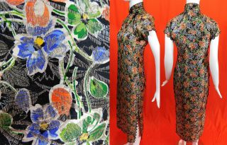 Vintage 30s Chinese Qipao Cheongsam Gold Lame Colorful Floral Print Banner Dress 2