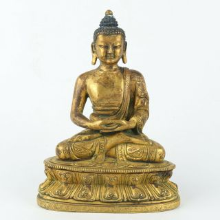 Antique Chinese Gilt Copper Buddha