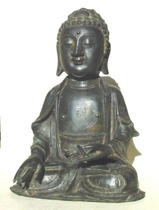 Large Ming dynasty bronze figure of Buddha 7