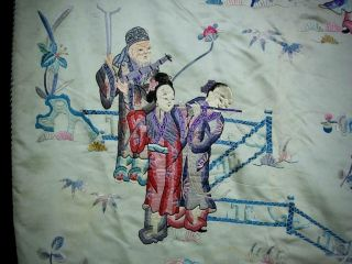 LARGE ANTIQUE CHINESE EMBROIDERED SILK PANEL OF IMMORTALS 10