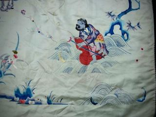 LARGE ANTIQUE CHINESE EMBROIDERED SILK PANEL OF IMMORTALS 11