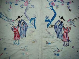 Large Antique Chinese Embroidered Silk Panel Of Immortals