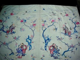 LARGE ANTIQUE CHINESE EMBROIDERED SILK PANEL OF IMMORTALS 3