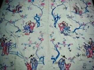 LARGE ANTIQUE CHINESE EMBROIDERED SILK PANEL OF IMMORTALS 4