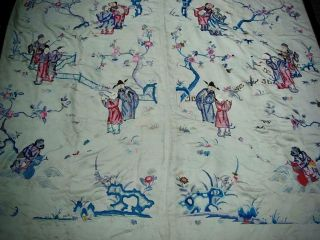 LARGE ANTIQUE CHINESE EMBROIDERED SILK PANEL OF IMMORTALS 5