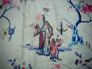 LARGE ANTIQUE CHINESE EMBROIDERED SILK PANEL OF IMMORTALS 6