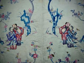 LARGE ANTIQUE CHINESE EMBROIDERED SILK PANEL OF IMMORTALS 7