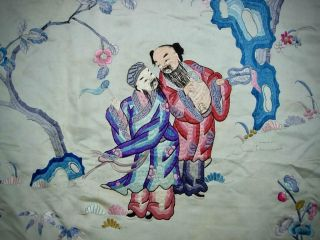 LARGE ANTIQUE CHINESE EMBROIDERED SILK PANEL OF IMMORTALS 8