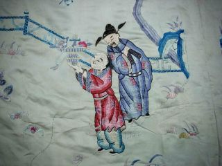LARGE ANTIQUE CHINESE EMBROIDERED SILK PANEL OF IMMORTALS 9