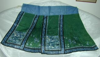 Antique Best 19thc Chinese Embroidered Green Silk Damask Skirt - A,