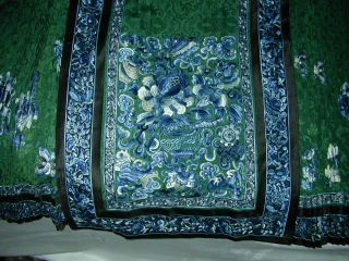 Antique BEST 19thC Chinese Embroidered Green Silk Damask Skirt - A, 2